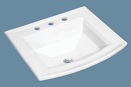 MSCBDP-2320-3W 23'' x 20'' White Rectangular Porcelain Drop-In Top Mount Bathroom Sink by Magnus Sinks