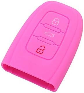 SEGADEN Silicone Cover Protector Case Skin Jacket fit for AUDI Smart Remote Key Fob CV9821 Pink