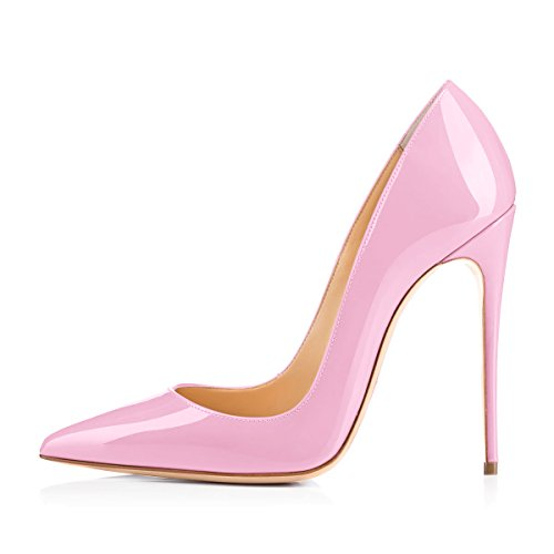 onlymaker Women's Sexy Pointed Toe High Heel Slip On Stiletto Pumps Large Size Basic Shoes Pink A 11 M US