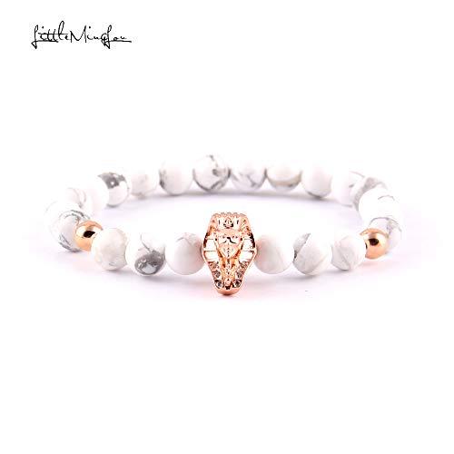 Pave Pharaoh Charm Bracelets | Women White Stone Bead | Mummies Bracelets & Bangles | for Women Jewelry (3928c) ()