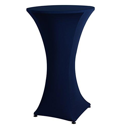 Auralum® Rund Stehtischhusse Tischdecke Stretch Husse Tuch für Outdoor Party Hochzeit Durchmesser 60cm Blau