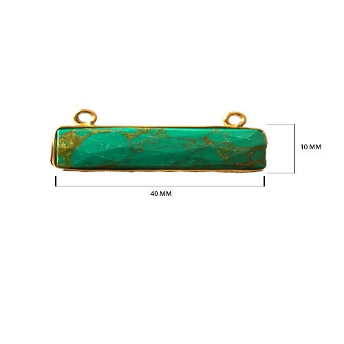 2 Pcs Natural Blue Turquoise Rectangle Beads 10X40mm 24K Gold Vermeil by BESTINBEADS, Natural Blue Turquoise Rectangle Pendant Bezel Gemstone Connectors Over 925 Sterling Silver Bezel Jewelry Making