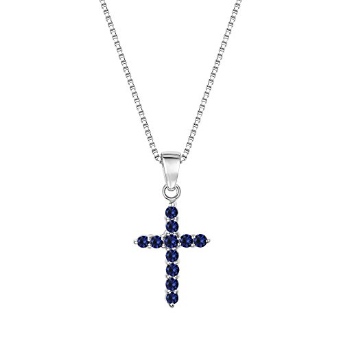 Sterling Silver 925 Round Lab-Created Blue Sapphire Cross Pendant Necklace, 18'' by ZKS Designs