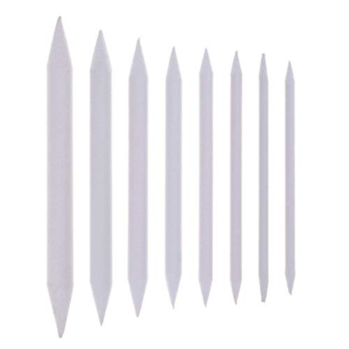 Haishell 8 Pieces White Blending Stumps and Tortillons Set Art Blenders Sticks for Student Sketch Drawing Accessories,8 ()