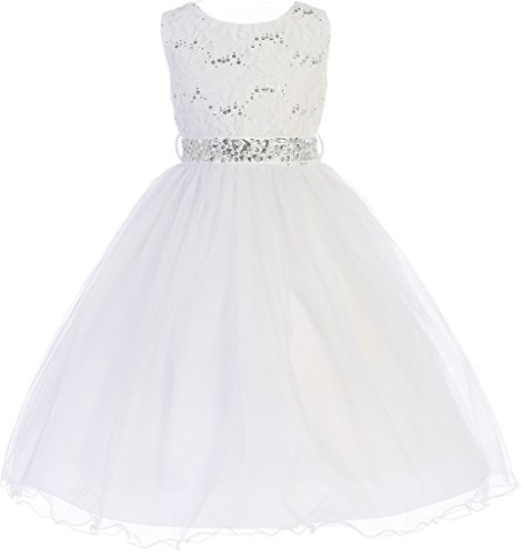 Big Girl Glitters Sequined Bodice Double Layer Tulle Rhinestones Sash Flower Girl Dress White 10 JK3670