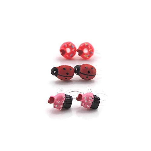 Ladybug, Donut, Cupcake Invisible Clip On Earring Gift Set (Ladybug Resin Earrings)