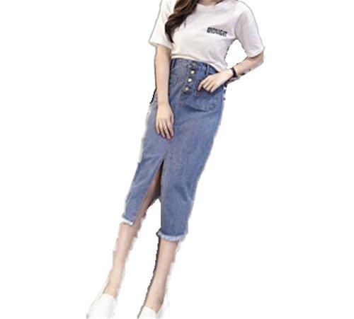 Price comparison product image JIANGTAOLANG Women Vintage Jeans Skirts Elastic High Waist Skinny Office OL Cotton Pencil Long Skirt Sky Blue XXXL