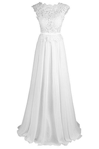 Dresstore Women's Backless Chiffon Beach Wedding Dress with Lace Applique Ivory US 14