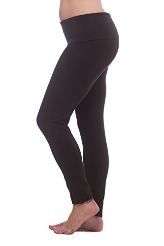 Alki'i Luxurious Cotton Lycra Fold Over Yoga Leggings, Black L ()
