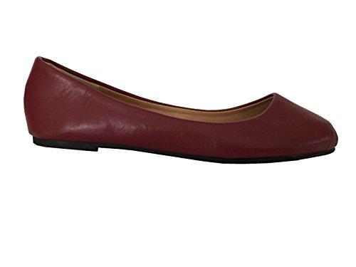 Schoenen 18 Schoenen8tien Womens Microsuede Basic Ballet Flat 8601 Burgundy Pu