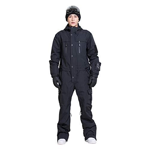 Men's Winter Soild Overall Bodysuit Ski Suits (L, Black)