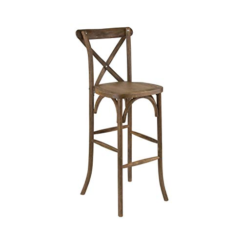 Offex Dark Antique Wood Stackable Cross Back Barstool