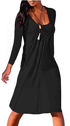 NIASHOT Womens 3/4 Sleeve Round Neck Pleated Casual Loose Swing T-Shirt Dress (S-2XL)