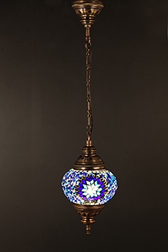 (Height: 7.9 in) Mosaic Chandelier Set 1 Single Globe, Handmade Authentic Tiffany Lighting Moroccan Lamp Glass Stunning Bedside Night Lights Brass&Glass Ottoman Turkish Style by LamodaHome
