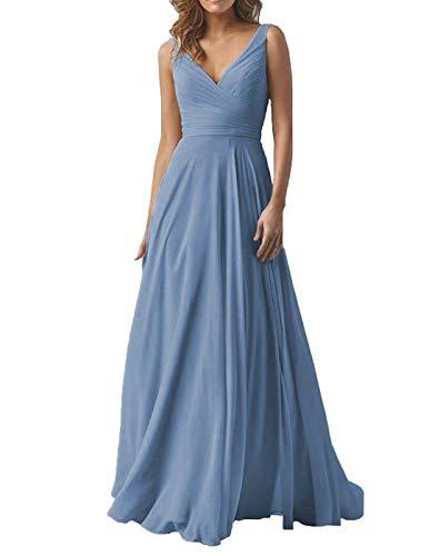 Women's Double V Neck Wedding Bridesmaid Dresses Long A-Line Chiffon Formal Evening Dress Slate Blue