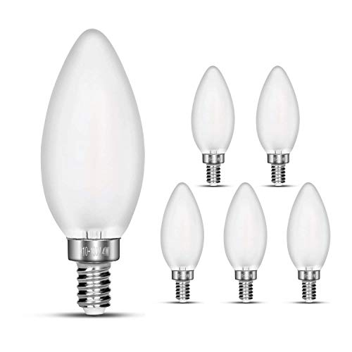 CarryBC 4000K 4W Dimmable LED Candelabra Bulb Soft White, 40W Equivalent E12 Base LED Candle Bulbs, C35 Frosted Glass Torpedo Shape Bullet Top, 360 Degrees Beam Angle, Pack of 6