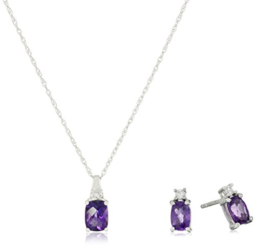 Amethyst Pendant Earrings Set (Sterling Silver Amethyst Cushion with Created White Sapphire Earrings and Pendant Necklace Box Set, 18