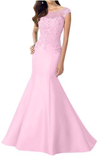 Partito Sirena Convenzionale Rosa Di Dal Applique Glamour Nuova Pizzo Abito Raso Avril Abito Prom Bnq0CIg