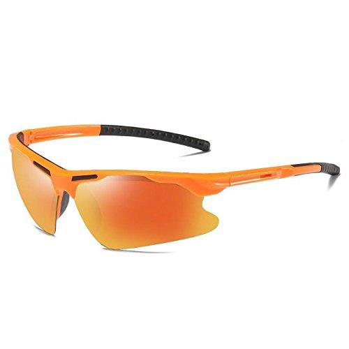 Coupe Équitation Sport Confortable Polarisant Lunettes Uv400 Randonnée Soleil Multicolore Orange Vent de frame LANZHI Hommes Classique xwng0qfHH
