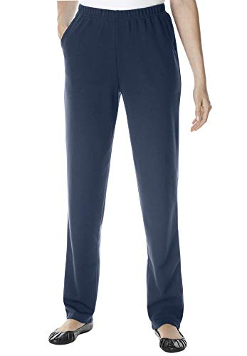 Woman Within Women's Plus Size Straight Leg Ponte Knit Pant - Navy, 14 W