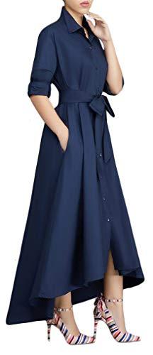 Speedle Women's Long Sleeve Solid High Low Asymmetrical Irregular Hem Casual Tops Blouse Shirt Dress Navy Blue L ()