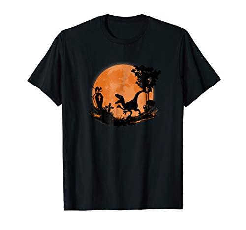 Halloween Dinosaur T-Shirt Cat vs Raptor in Moon Costume Tee -