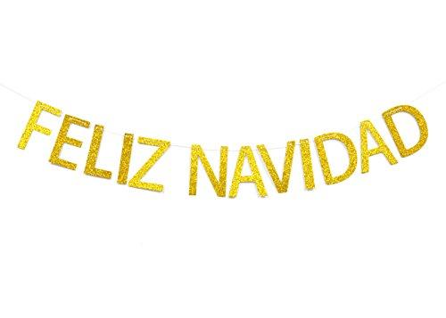 Qttier Feliz Navidad Gold Glitter Banner-Spanish Merry Christmas Banner-Holiday Garland ()