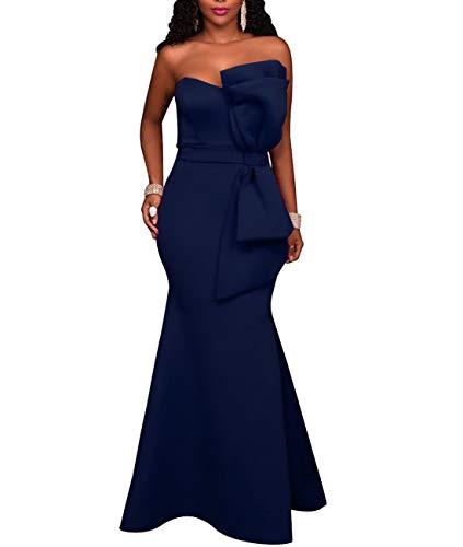 - SEBOWEL Women's Elegant Off Shoulder Mermaid Formal Party Long Dress Evening Gowns Dresses Navy M