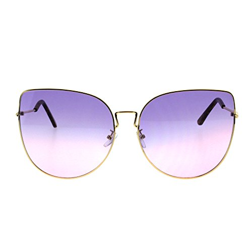Womens Butterfly Metal Rim Retro Oceanic Gradient Lens Sunglasses Gold Purple Pink