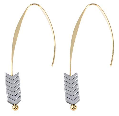 - Threader Drop Earring Arrow Dangle Hoops Retro Unique Ear Crawler Earrings Climber Long Ear Line Jewelry Silver Tone