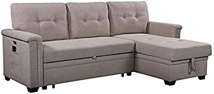 Lilola Home Ashlyn Light Gray Fabric Reversible Sleeper Sofa Usb Charger Storage Chaise Furniture Decor Amazon Com