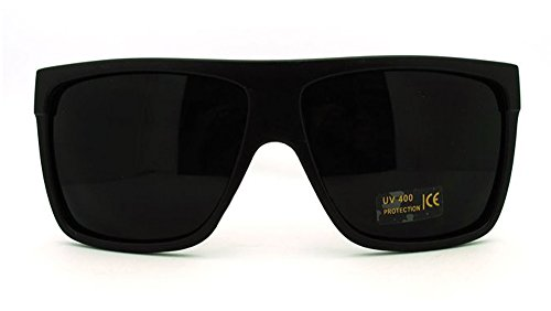 All Black Lemo Super Dark Flat Top Mob Oversized Rectangular Sunglasses (Black, - Flat Glasses Black