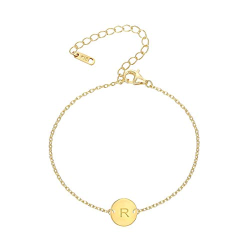 (MOMOL Initial Charm Bracelets, 18K Gold Plated Stainless Steel Dainty Small Round Coin Disc Initial Bracelet Engraved Letters Personalized Name Bracelet for Girls (R))