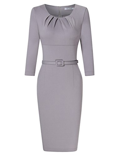 GlorySunshine Women 3/4 Flare Bell Sleeves Work Bodycon Pencil Dress Vintage Cocktail Party Dresses (2XL, Gray-)