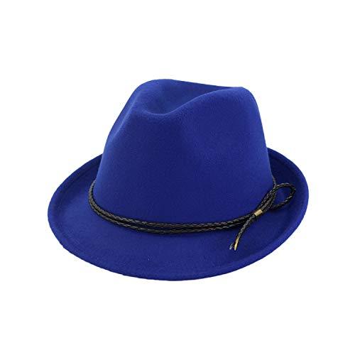 (Fashion Fall Winter Male Fedoras Floppy Jazz Hats Pure Cotton Men Large Brim Cap Vintage Wool Caps,Royal Blue)
