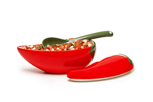 (Prepworks by Progressive Salsa Bowl with Spoon - Great for Homemade Salsa and Pico De Gallo, Dips, Party foods, Condiments, Sauces and Toppings)