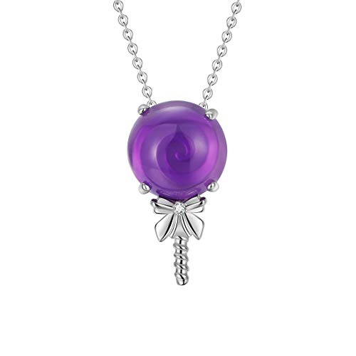 Fancime 925 Sterling Silver Lollipop Necklace Round Amethyst Cubic Zirconia Women Fashionable Pendant Jewelry 18""