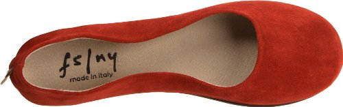 French Sloop FS Flat Ballet Sole NY Red Suede Women's 1Tfqv1