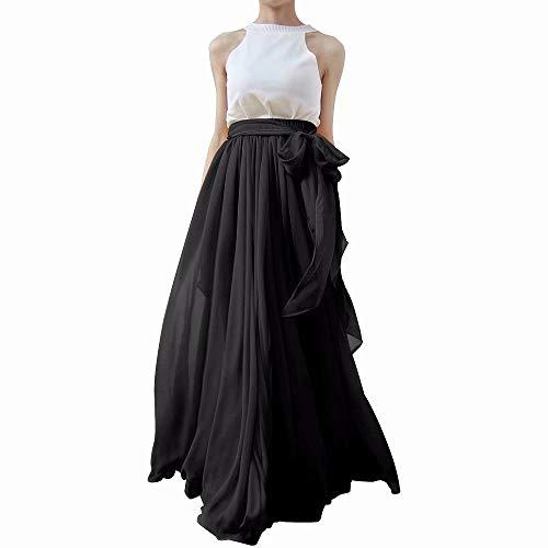 Chiffon Long Skirt - Lanierwedding Summer Beach Chiffon Long High Waist Maxi Skirt with Belt for Wedding 2017 Black Size M