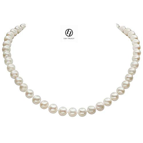 Lily Treacy Freshwater Pearl Necklace Strand 8.5-9.5mm white 18