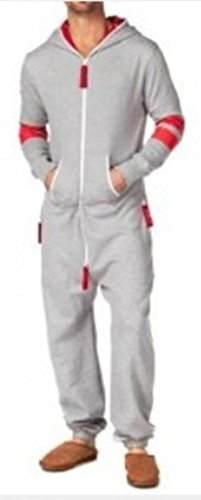 SkylineWears Men's Onesie Playsuit Jumpsuit one Piece non Footed Pajamas Canadian Flag X-Large Gray
