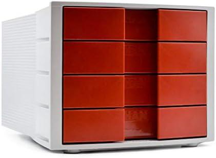 Han 1010-X-17 Impuls - Cajonera de oficina con etiquetas, color gris claro y rojo