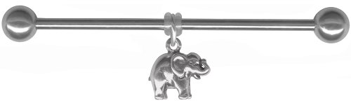 Silver Elephant Charm Industrial Barbell-Stainless Steel Dangle Industrial Bar-16g or 14g (M. 16 gauge 2 inch (50mm))