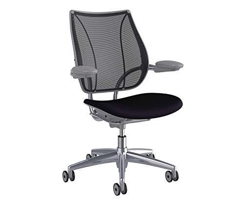 - Humanscale Liberty Office Desk Task Chair - L111PM10CF10 - Adjustable Duron Arms, Polished Aluminum w/Silver Trim, Monofilament Stripe (10) Black Backrest Mesh, Corde 4 (10) Black Fabric