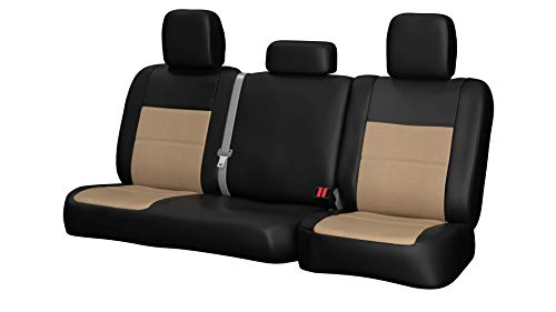 Rear SEAT: ShearComfort Custom Sof-Touch Imitation Leather Seat Covers for Honda Civic (1992-1995) in Black w/Sandstone for Solid Back and Bottom Bench w/Molded Headrests (Sedan and Coupe)