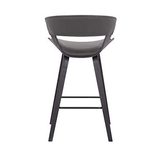 Kitchen Armen Living Jagger Modern 26″ Wood and Faux Leather Counter Height Bar Stool, Gray/Black modern barstools