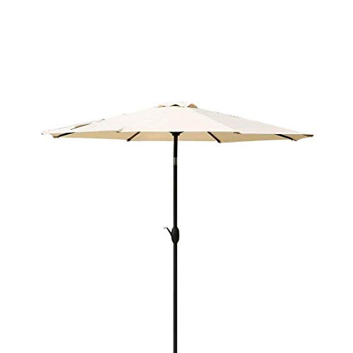 Base Umbrella Market 9 (Patio Umbrella 9 Ft Aluminum Outdoor Table Market Umbrellas With Push Button Tilt and Crank, Safety Bolt,8 Ribs (Beige))