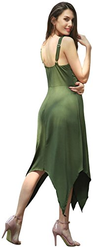 Jeansian Mujer Verano Solid Colour Irregular Hem Playa Evening Party Midi Vestido WHS410 ArmyGreen