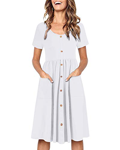 OUGES Women's Short Sleeve V Neck Button Down Midi Skater Dress with - Dress Short Womens Sleeve