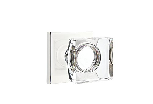 Emtek 5110-MSC Modern Square Crystal Knob Privacy Polished Chrome